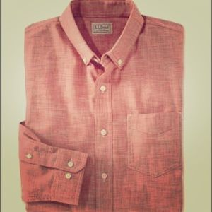 LL BEAN red chambray trim fit small